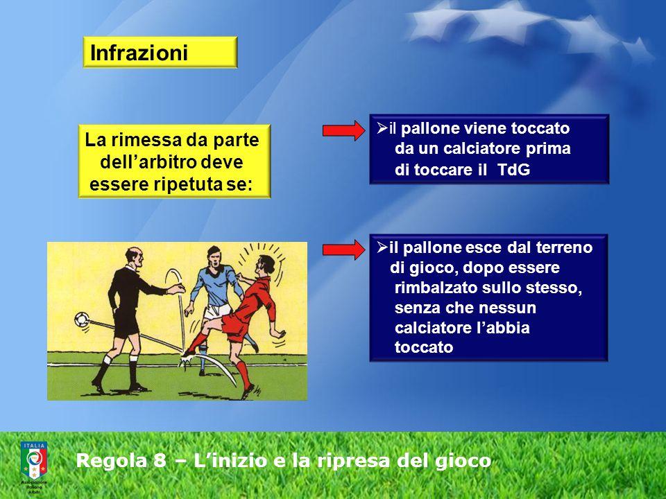 Regola 8 – L'inizio e la ripresa del gioco Infrazioni La rimessa da parte dell'arbitro deve essere ripetuta se:  il pallone esce dal terreno di gioco, dopo essere rimbalzato sullo stesso, senza che nessun calciatore l'abbia toccato  il pallone viene toccato da un calciatore prima di toccare il TdG