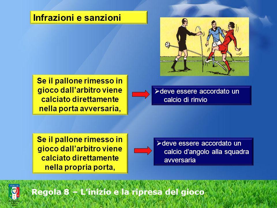 Regola 8 – L'inizio e la ripresa del gioco Infrazioni e sanzioni Se il pallone rimesso in gioco dall'arbitro viene calciato direttamente nella porta a