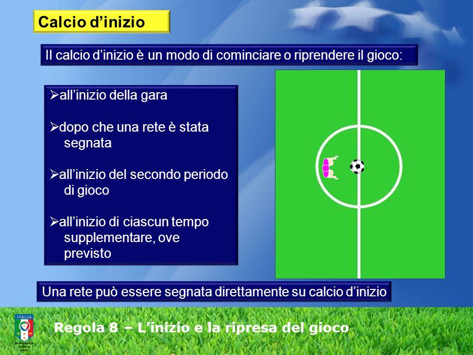 Regola 8 – L'inizio e la ripresa del gioco Calcio d'inizio Il calcio d'inizio è un modo di cominciare o riprendere il gioco:  all'inizio della gara  dopo che una rete è stata segnata  all'inizio del secondo periodo di gioco  all'inizio di ciascun tempo supplementare, ove previsto Una rete può essere segnata direttamente su calcio d'inizio
