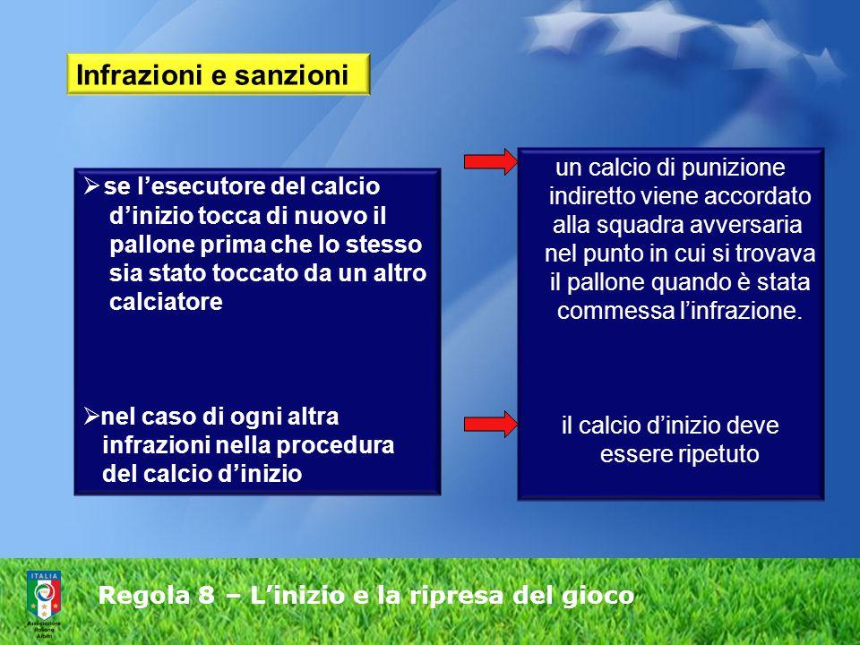 Regola 8 – L'inizio e la ripresa del gioco  se l'esecutore del calcio d'inizio tocca di nuovo il pallone prima che lo stesso sia stato toccato da un