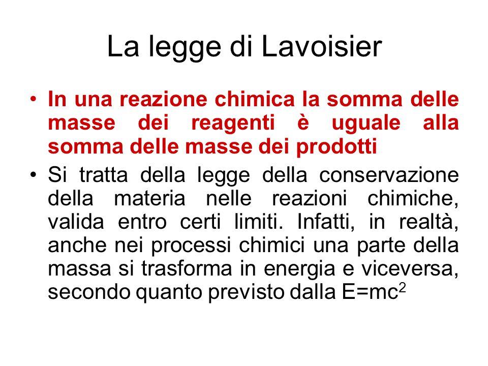 La legge di Lavoisier In una reazione chimica la somma delle masse dei reagenti è uguale alla somma delle masse dei prodotti Si tratta della legge del