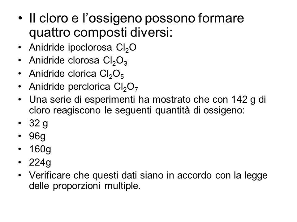 Il cloro e l'ossigeno possono formare quattro composti diversi: Anidride ipoclorosa Cl 2 O Anidride clorosa Cl 2 O 3 Anidride clorica Cl 2 O 5 Anidrid