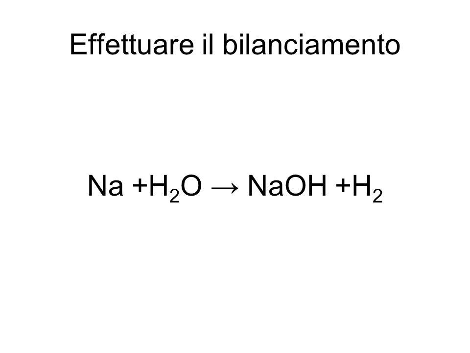 Effettuare il bilanciamento Na +H 2 O → NaOH +H 2