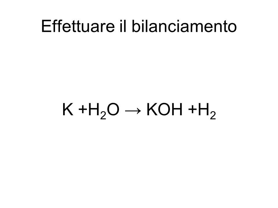 Effettuare il bilanciamento K +H 2 O → KOH +H 2