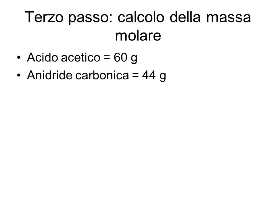 Terzo passo: calcolo della massa molare Acido acetico = 60 g Anidride carbonica = 44 g