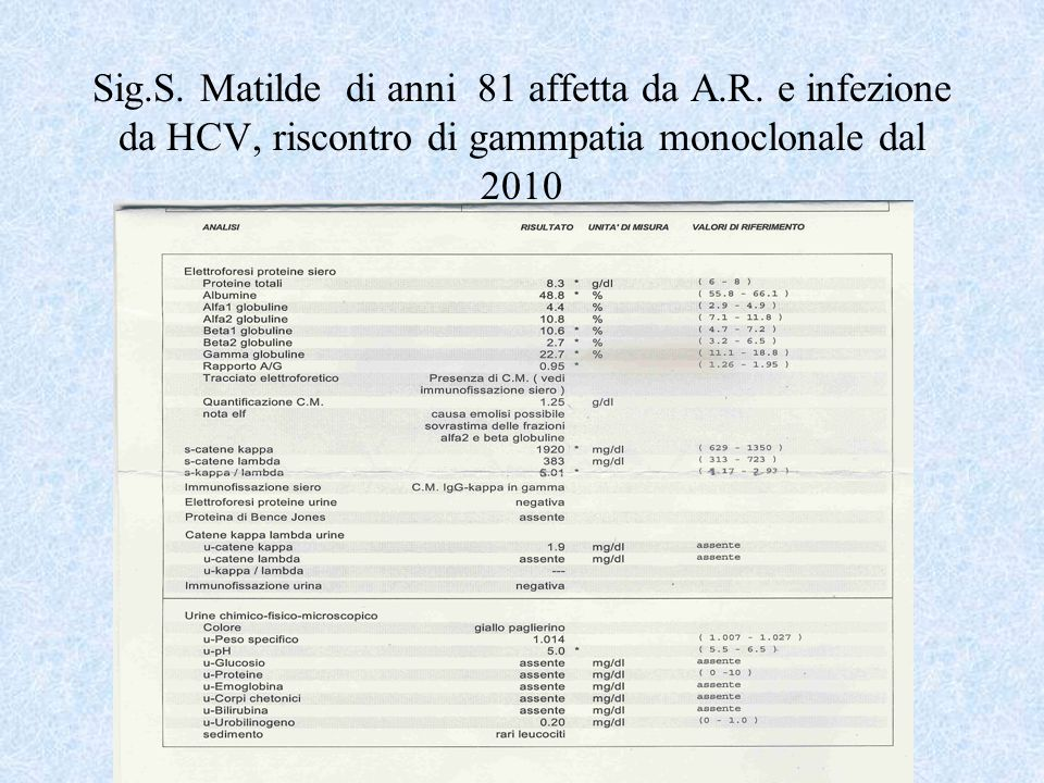 Sig.S. Matilde di anni 81 affetta da A.R. e infezione da HCV, riscontro di gammpatia monoclonale dal 2010
