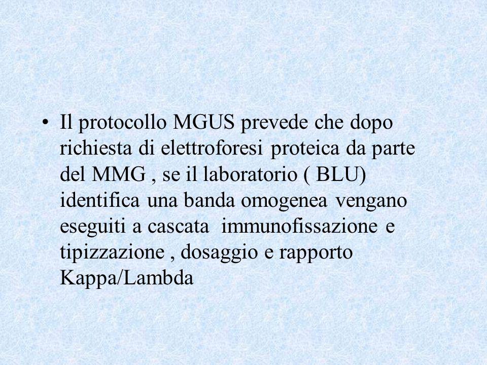 Il protocollo MGUS prevede che dopo richiesta di elettroforesi proteica da parte del MMG, se il laboratorio ( BLU) identifica una banda omogenea venga