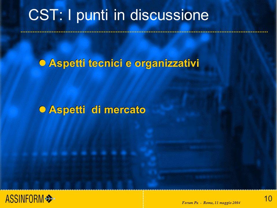 10 Forum Pa - Roma, 11 maggio 2004 CST: I punti in discussione Aspetti tecnici e organizzativi Aspetti di mercato Aspetti tecnici e organizzativi Aspetti di mercato