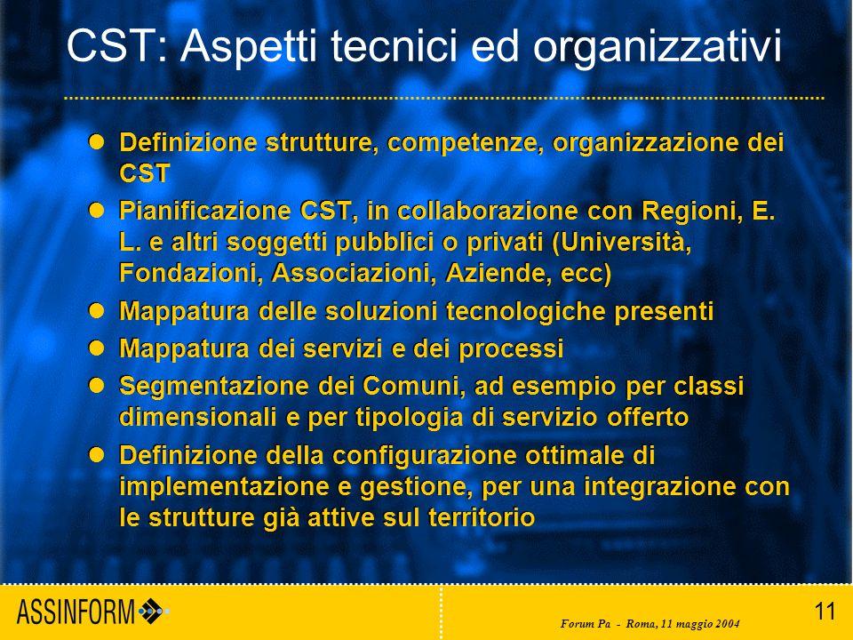 11 Forum Pa - Roma, 11 maggio 2004 CST: Aspetti tecnici ed organizzativi Definizione strutture, competenze, organizzazione dei CST Pianificazione CST, in collaborazione con Regioni, E.