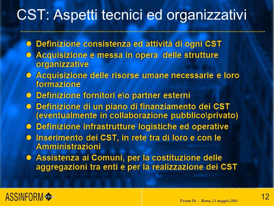 12 Forum Pa - Roma, 11 maggio 2004 CST: Aspetti tecnici ed organizzativi Definizione consistenza ed attività di ogni CST Acquisizione e messa in opera delle strutture organizzative Acquisizione delle risorse umane necessarie e loro formazione Definizione fornitori e\o partner esterni Definizione di un piano di finanziamento dei CST (eventualmente in collaborazione pubblico\privato) Definizione infrastrutture logistiche ed operative Inserimento dei CST, in rete tra di loro e con le Amministrazioni Assistenza ai Comuni, per la costituzione delle aggregazioni tra enti e per la realizzazione dei CST Definizione consistenza ed attività di ogni CST Acquisizione e messa in opera delle strutture organizzative Acquisizione delle risorse umane necessarie e loro formazione Definizione fornitori e\o partner esterni Definizione di un piano di finanziamento dei CST (eventualmente in collaborazione pubblico\privato) Definizione infrastrutture logistiche ed operative Inserimento dei CST, in rete tra di loro e con le Amministrazioni Assistenza ai Comuni, per la costituzione delle aggregazioni tra enti e per la realizzazione dei CST