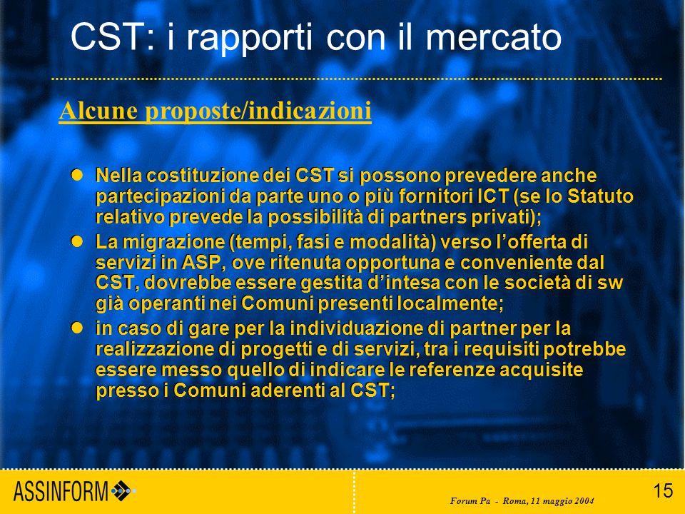 15 Forum Pa - Roma, 11 maggio 2004 CST: i rapporti con il mercato Nella costituzione dei CST si possono prevedere anche partecipazioni da parte uno o più fornitori ICT (se lo Statuto relativo prevede la possibilità di partners privati); La migrazione (tempi, fasi e modalità) verso l'offerta di servizi in ASP, ove ritenuta opportuna e conveniente dal CST, dovrebbe essere gestita d'intesa con le società di sw già operanti nei Comuni presenti localmente; in caso di gare per la individuazione di partner per la realizzazione di progetti e di servizi, tra i requisiti potrebbe essere messo quello di indicare le referenze acquisite presso i Comuni aderenti al CST; Nella costituzione dei CST si possono prevedere anche partecipazioni da parte uno o più fornitori ICT (se lo Statuto relativo prevede la possibilità di partners privati); La migrazione (tempi, fasi e modalità) verso l'offerta di servizi in ASP, ove ritenuta opportuna e conveniente dal CST, dovrebbe essere gestita d'intesa con le società di sw già operanti nei Comuni presenti localmente; in caso di gare per la individuazione di partner per la realizzazione di progetti e di servizi, tra i requisiti potrebbe essere messo quello di indicare le referenze acquisite presso i Comuni aderenti al CST; Alcune proposte/indicazioni