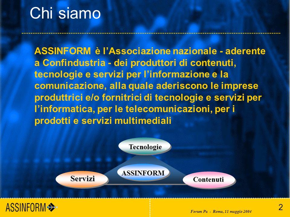 2 Forum Pa - Roma, 11 maggio 2004 ASSINFORM Tecnologie Contenuti Contenuti Servizi Servizi ASSINFORM è l'Associazione nazionale - aderente a Confindustria - dei produttori di contenuti, tecnologie e servizi per l'informazione e la comunicazione, alla quale aderiscono le imprese produttrici e/o fornitrici di tecnologie e servizi per l'informatica, per le telecomunicazioni, per i prodotti e servizi multimediali Chi siamo