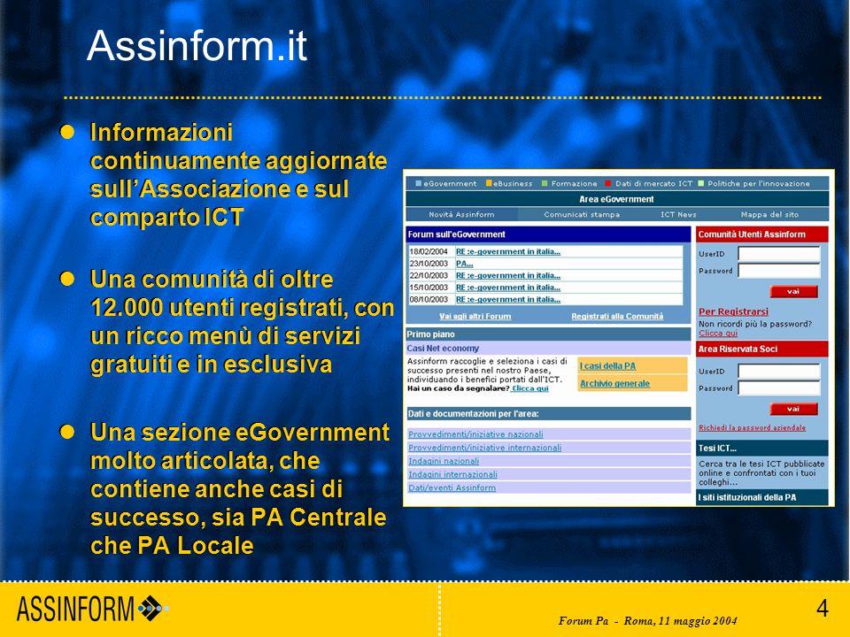 4 Forum Pa - Roma, 11 maggio 2004 Assinform.it lInformazioni continuamente aggiornate sull'Associazione e sul comparto ICT lUna comunità di oltre 12.000 utenti registrati, con un ricco menù di servizi gratuiti e in esclusiva lUna sezione eGovernment molto articolata, che contiene anche casi di successo, sia PA Centrale che PA Locale lInformazioni continuamente aggiornate sull'Associazione e sul comparto ICT lUna comunità di oltre 12.000 utenti registrati, con un ricco menù di servizi gratuiti e in esclusiva lUna sezione eGovernment molto articolata, che contiene anche casi di successo, sia PA Centrale che PA Locale