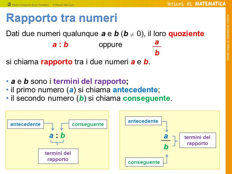 a e b sono i termini del rapporto; il primo numero (a) si chiama antecedente; il secondo numero (b) si chiama conseguente.