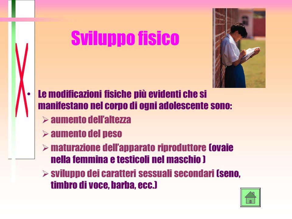 Sviluppo fisico Le modificazioni fisiche più evidenti che si manifestano nel corpo di ogni adolescente sono:  aumento dell'altezza  aumento del peso
