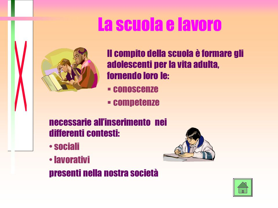 La scuola e lavoro necessarie all'inserimento nei differenti contesti: sociali lavorativi presenti nella nostra società Il compito della scuola è form