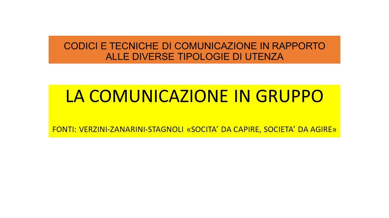 CODICI E TECNICHE DI COMUNICAZIONE IN RAPPORTO ALLE DIVERSE TIPOLOGIE DI UTENZA LA COMUNICAZIONE IN GRUPPO FONTI: VERZINI-ZANARINI-STAGNOLI «SOCITA' DA CAPIRE, SOCIETA' DA AGIRE»