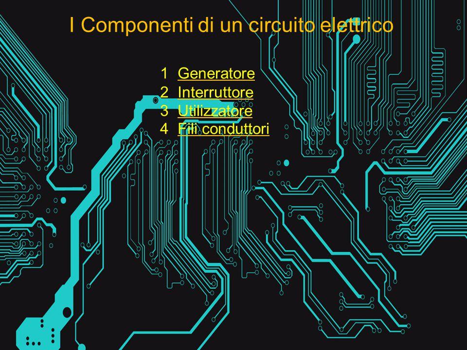 I Componenti di un circuito elettrico 1Generatore 2Interruttore 3Utilizzatore 4Fili conduttori