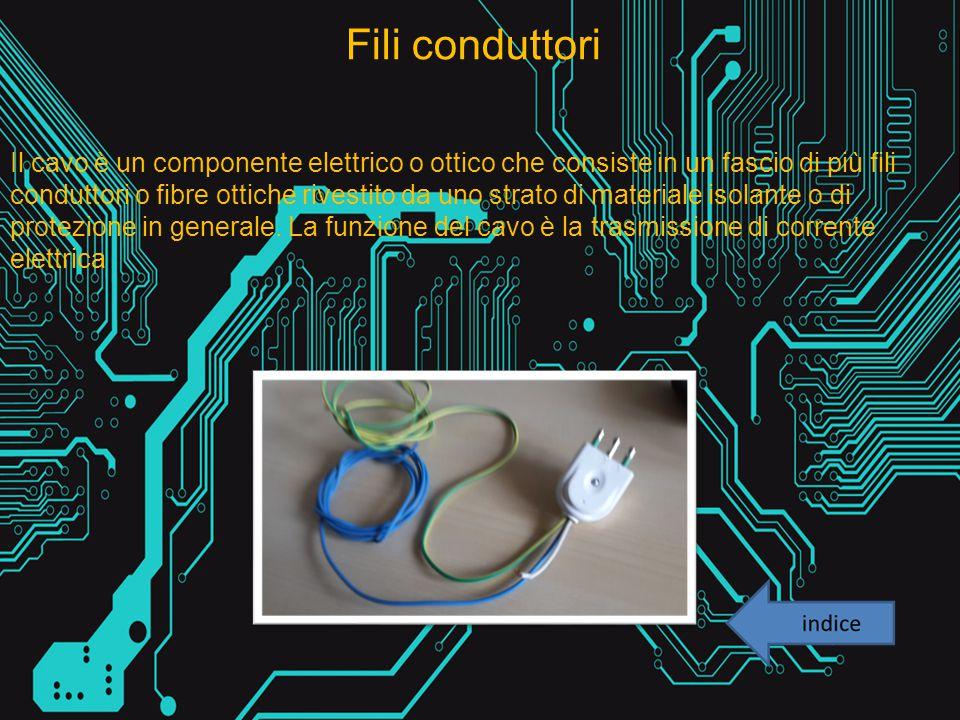 Fili conduttori Il cavo è un componente elettrico o ottico che consiste in un fascio di più fili conduttori o fibre ottiche rivestito da uno strato di