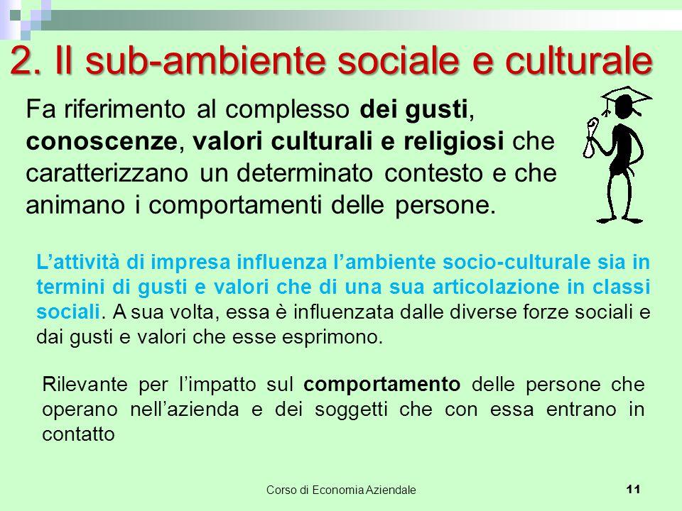2. Il sub-ambiente sociale e culturale L'attività di impresa influenza l'ambiente socio-culturale sia in termini di gusti e valori che di una sua arti