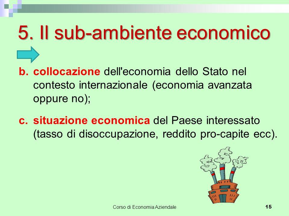 5. Il sub-ambiente economico 15 b.collocazione dell'economia dello Stato nel contesto internazionale (economia avanzata oppure no); c.situazione econo