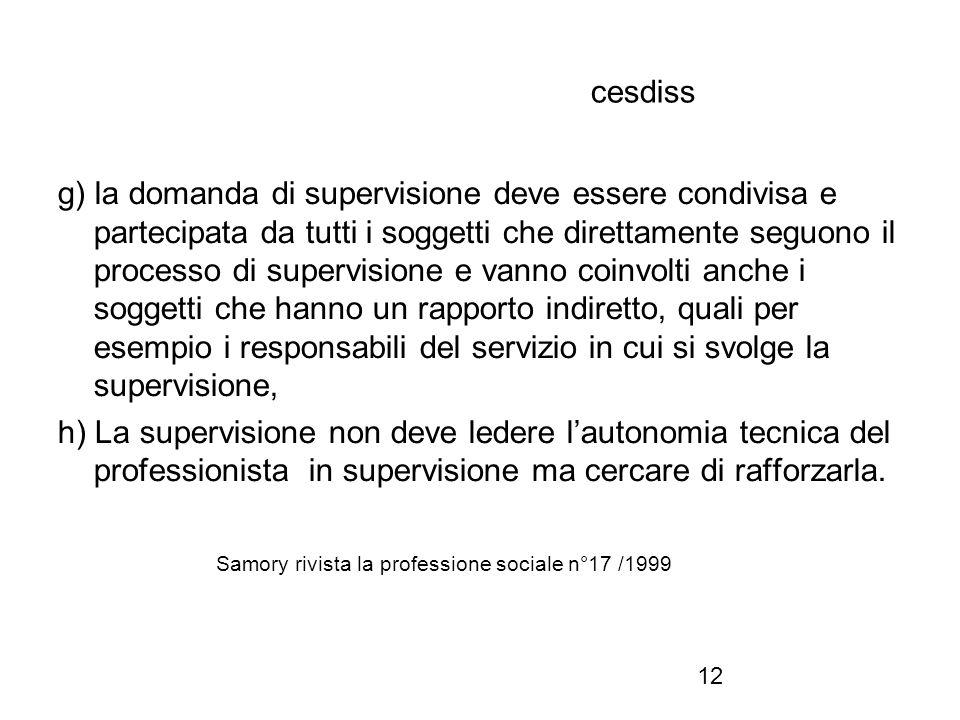 12 cesdiss g) la domanda di supervisione deve essere condivisa e partecipata da tutti i soggetti che direttamente seguono il processo di supervisione