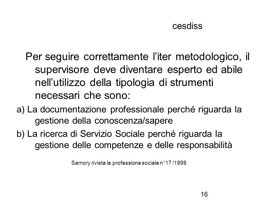 16 cesdiss Per seguire correttamente l'iter metodologico, il supervisore deve diventare esperto ed abile nell'utilizzo della tipologia di strumenti ne