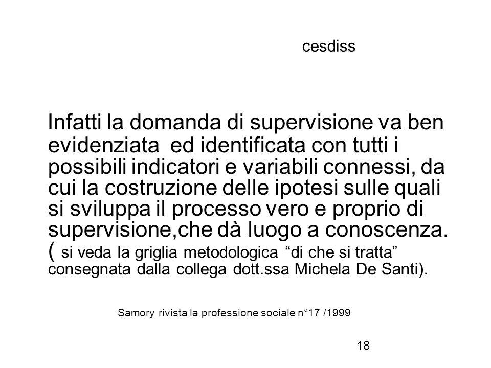 18 cesdiss Infatti la domanda di supervisione va ben evidenziata ed identificata con tutti i possibili indicatori e variabili connessi, da cui la cost