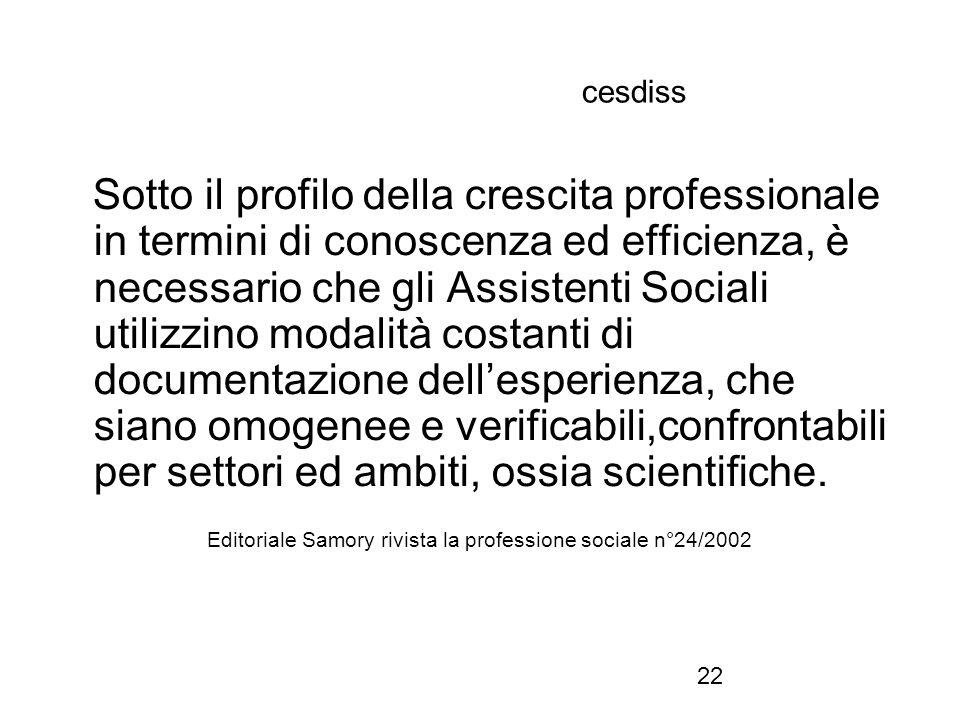 22 cesdiss Sotto il profilo della crescita professionale in termini di conoscenza ed efficienza, è necessario che gli Assistenti Sociali utilizzino mo