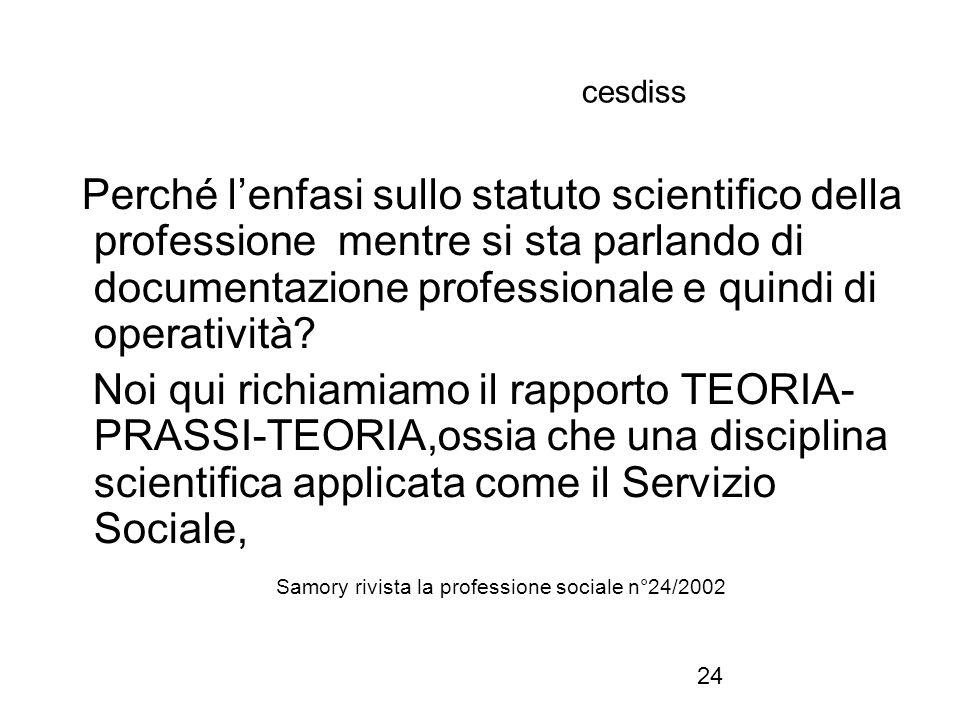24 cesdiss Perché l'enfasi sullo statuto scientifico della professione mentre si sta parlando di documentazione professionale e quindi di operatività?