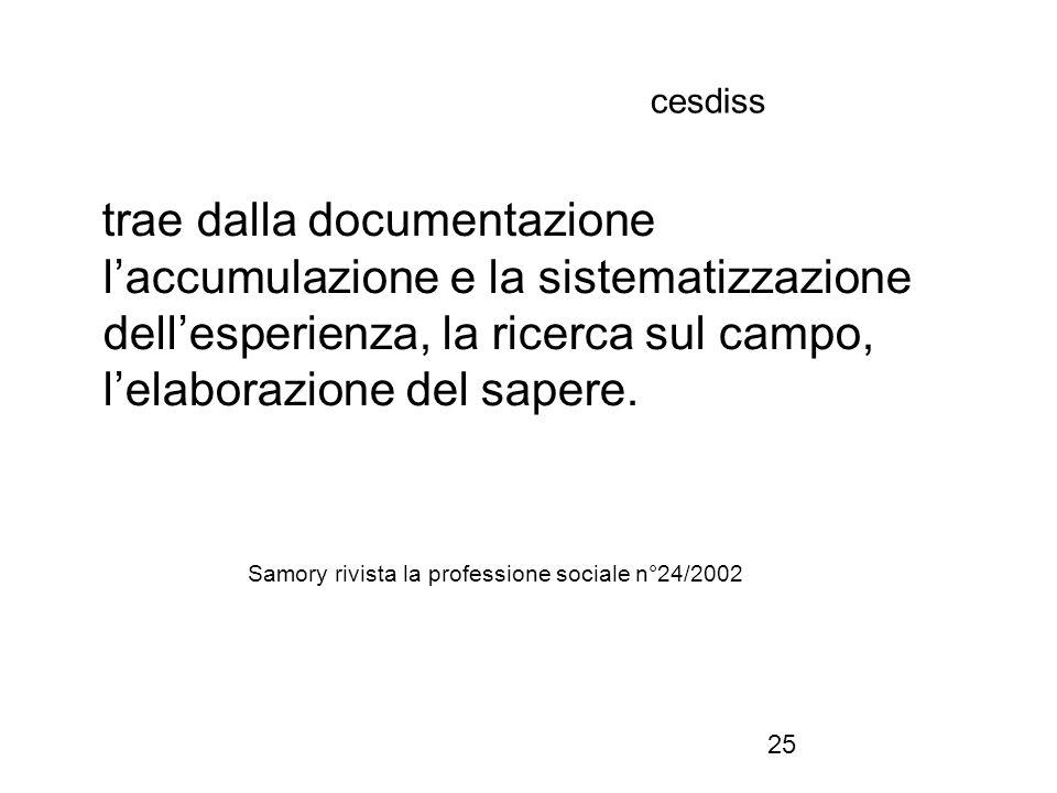 25 cesdiss trae dalla documentazione l'accumulazione e la sistematizzazione dell'esperienza, la ricerca sul campo, l'elaborazione del sapere. Samory r