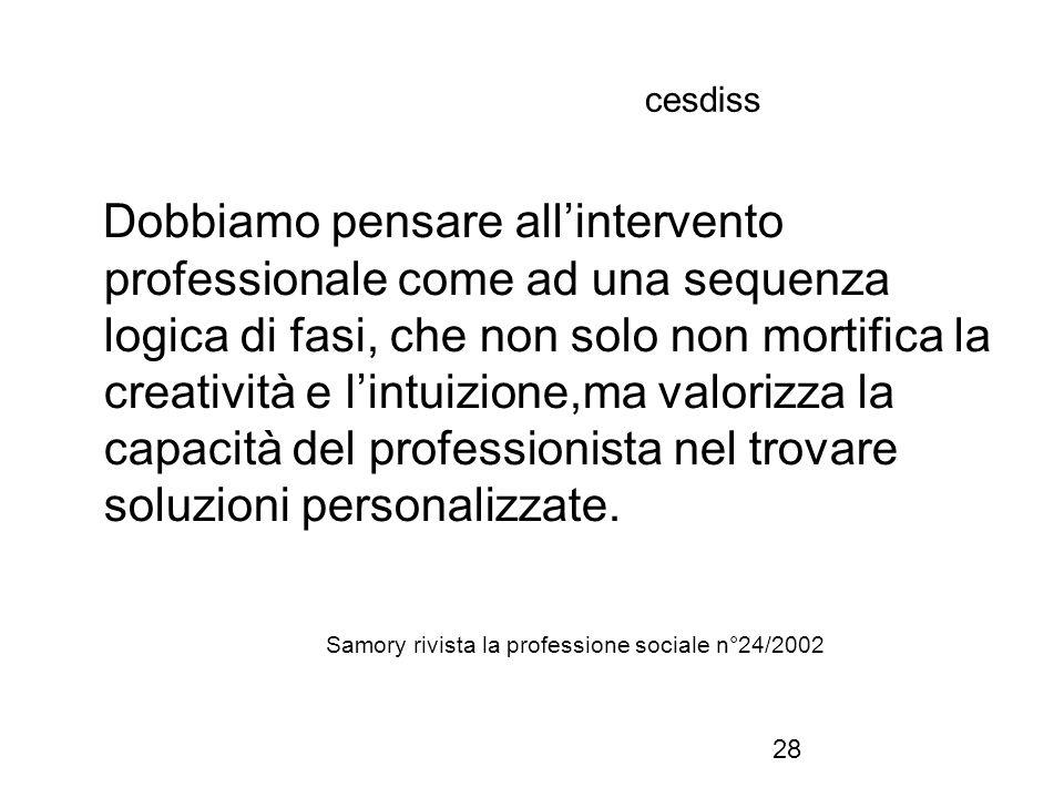 28 cesdiss Dobbiamo pensare all'intervento professionale come ad una sequenza logica di fasi, che non solo non mortifica la creatività e l'intuizione,ma valorizza la capacità del professionista nel trovare soluzioni personalizzate.