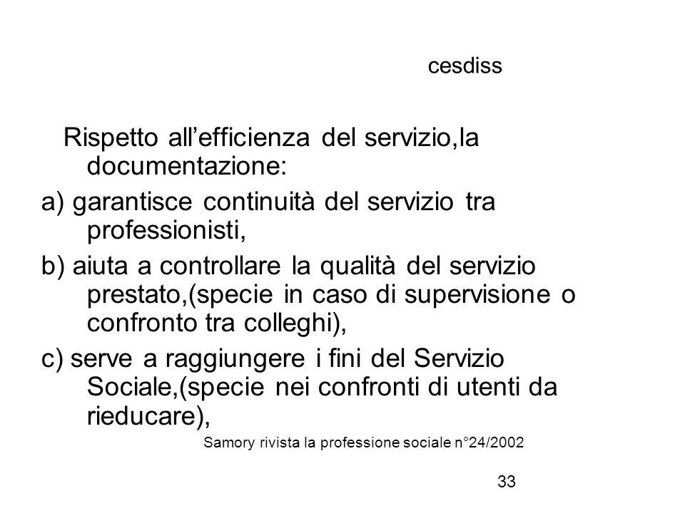 33 cesdiss Rispetto all'efficienza del servizio,la documentazione: a) garantisce continuità del servizio tra professionisti, b) aiuta a controllare la