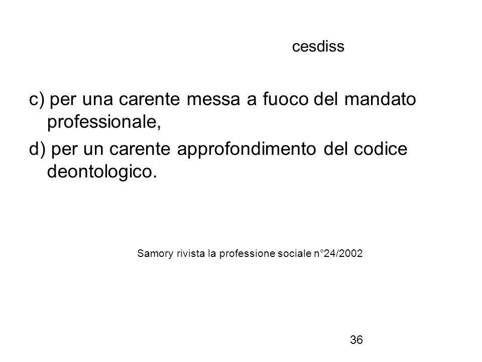 36 cesdiss c) per una carente messa a fuoco del mandato professionale, d) per un carente approfondimento del codice deontologico.