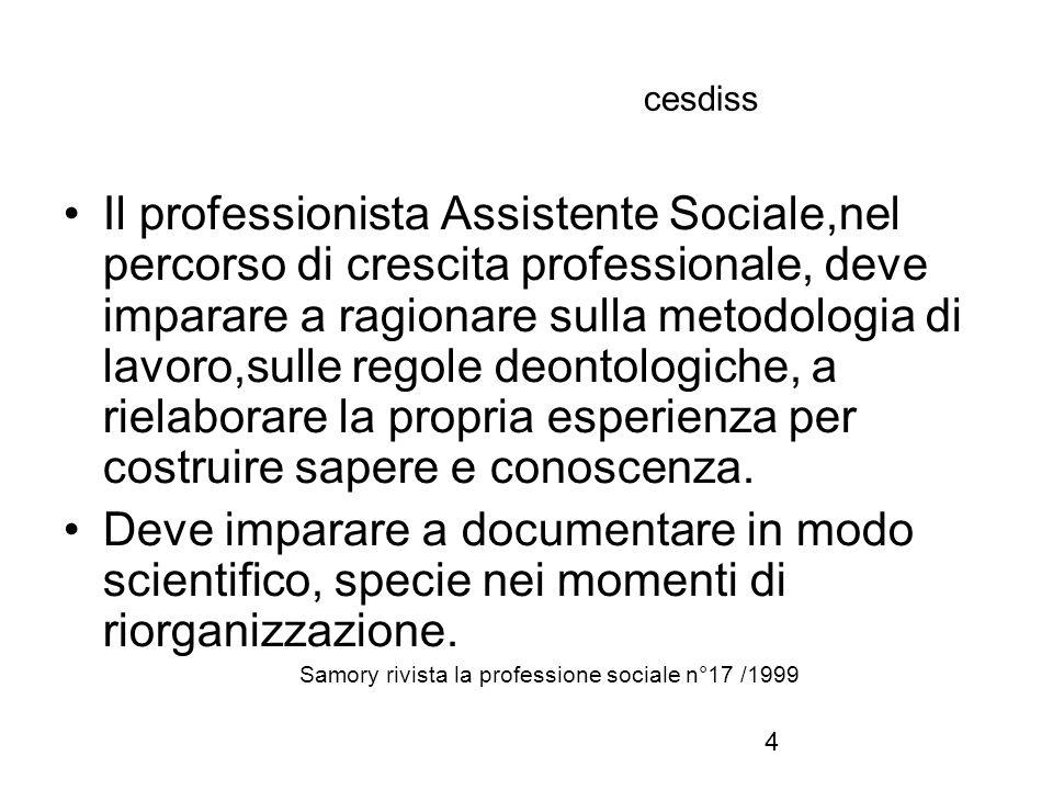 4 cesdiss Il professionista Assistente Sociale,nel percorso di crescita professionale, deve imparare a ragionare sulla metodologia di lavoro,sulle regole deontologiche, a rielaborare la propria esperienza per costruire sapere e conoscenza.
