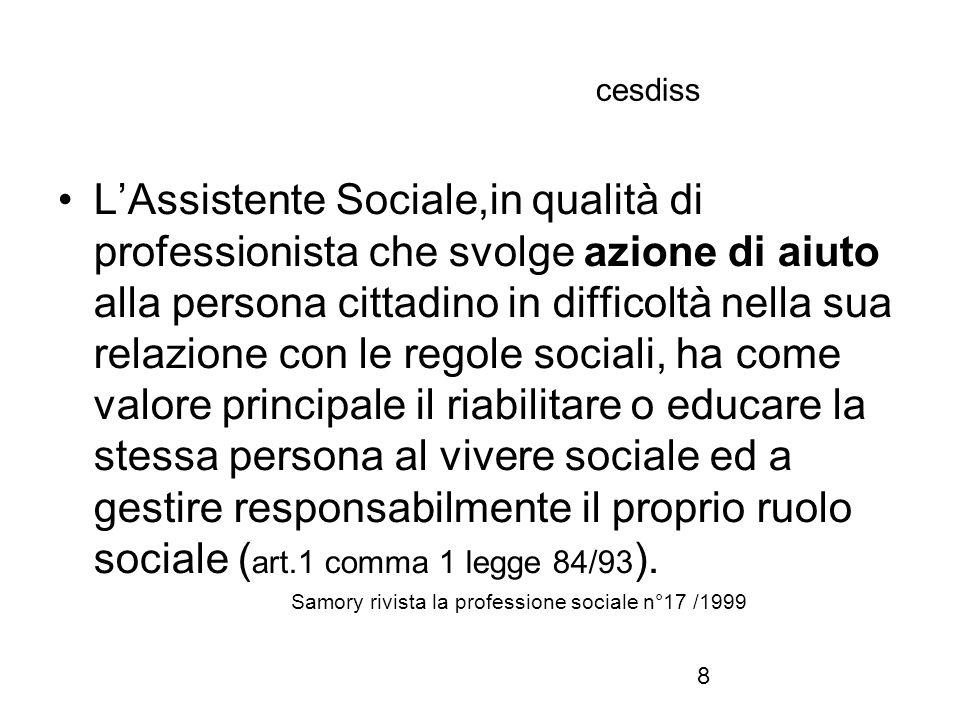 8 cesdiss L'Assistente Sociale,in qualità di professionista che svolge azione di aiuto alla persona cittadino in difficoltà nella sua relazione con le