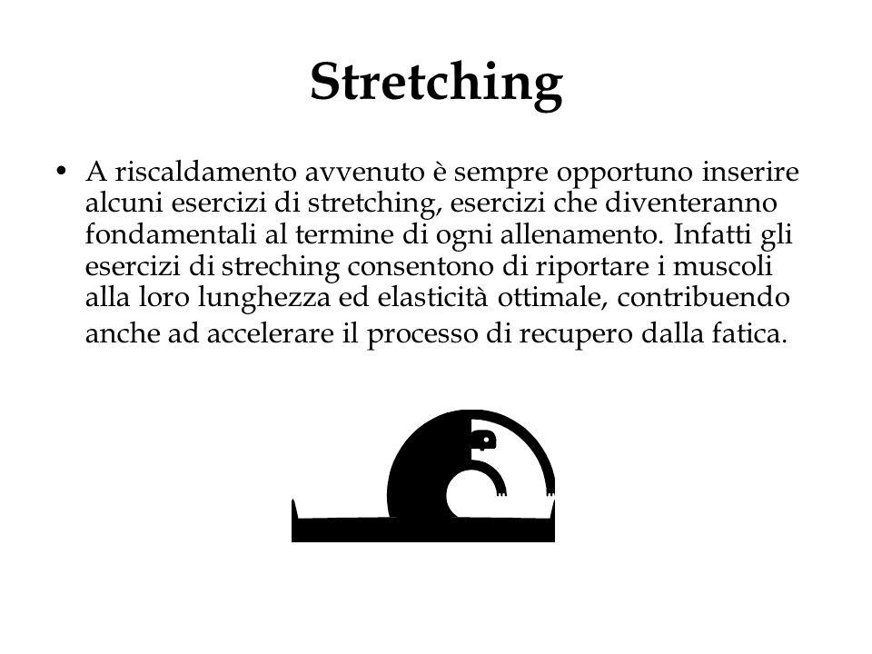 Stretching A riscaldamento avvenuto è sempre opportuno inserire alcuni esercizi di stretching, esercizi che diventeranno fondamentali al termine di og