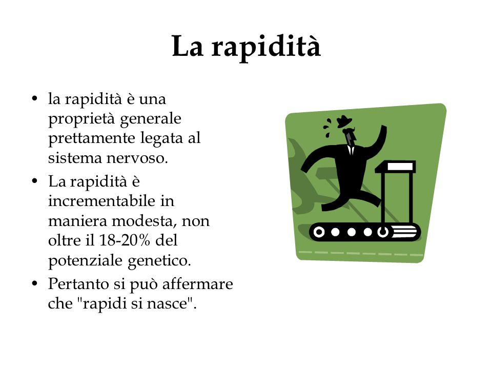 La rapidità la rapidità è una proprietà generale prettamente legata al sistema nervoso. La rapidità è incrementabile in maniera modesta, non oltre il