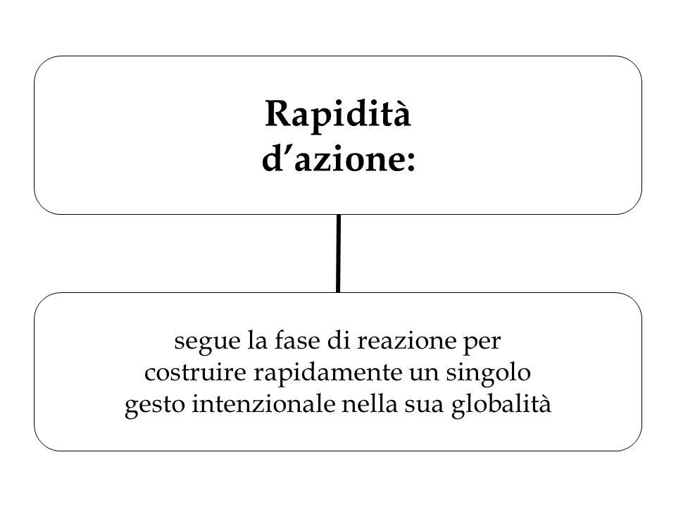 Rapidità d'azione: segue la fase di reazione per costruire rapidamente un singolo gesto intenzionale nella sua globalità