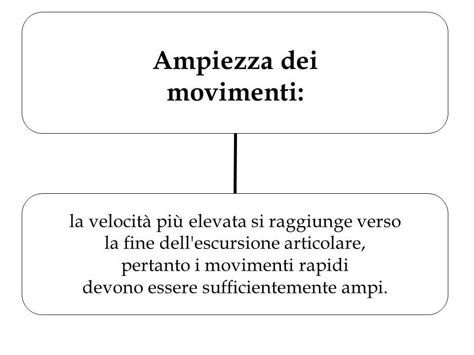 Ampiezza dei movimenti: la velocità più elevata si raggiunge verso la fine dell'escursione articolare, pertanto i movimenti rapidi devono essere suffi