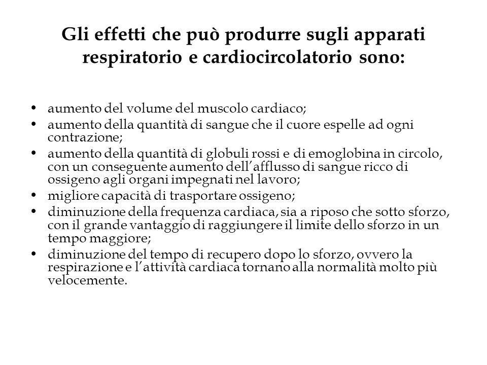 Gli effetti che può produrre sugli apparati respiratorio e cardiocircolatorio sono: aumento del volume del muscolo cardiaco; aumento della quantità di