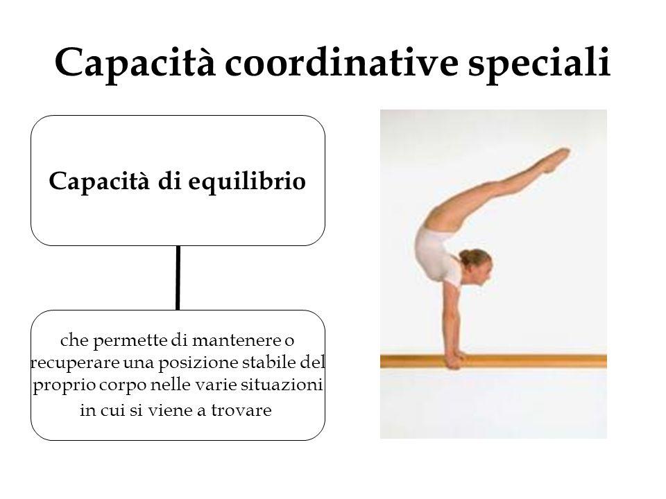 Capacità coordinative speciali Capacità di equilibrio che permette di mantenere o recuperare una posizione stabile del proprio corpo nelle varie situa