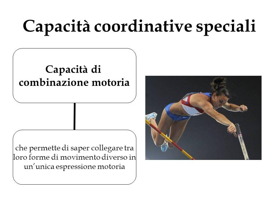 Capacità coordinative speciali Capacità di combinazione motoria che permette di saper collegare tra loro forme di movimento diverso in un'unica espres