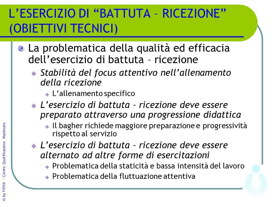 """© by FIPAV - Centro Qualificazione Nazionale L'ESERCIZIO DI """"BATTUTA – RICEZIONE"""" (OBIETTIVI TECNICI) La problematica della qualità ed efficacia dell'"""