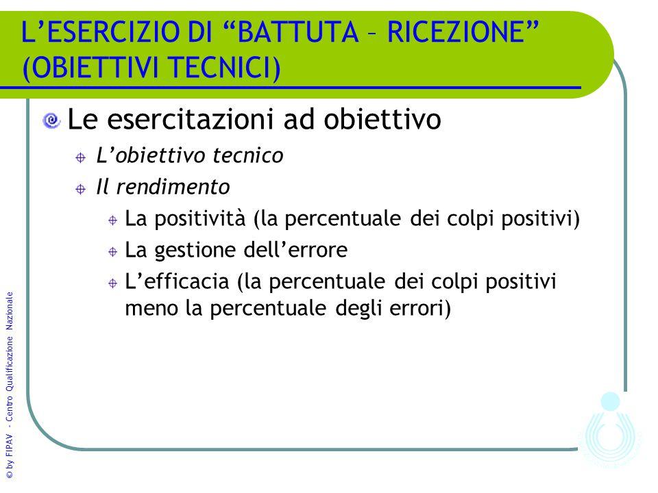 """© by FIPAV - Centro Qualificazione Nazionale L'ESERCIZIO DI """"BATTUTA – RICEZIONE"""" (OBIETTIVI TECNICI) Le esercitazioni ad obiettivo L'obiettivo tecnic"""