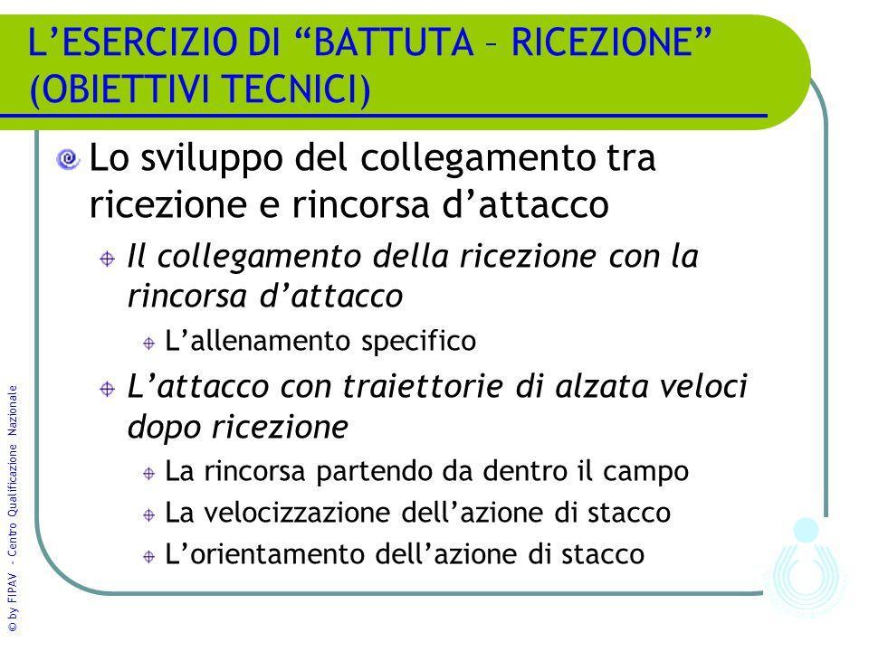 """© by FIPAV - Centro Qualificazione Nazionale L'ESERCIZIO DI """"BATTUTA – RICEZIONE"""" (OBIETTIVI TECNICI) Lo sviluppo del collegamento tra ricezione e rin"""
