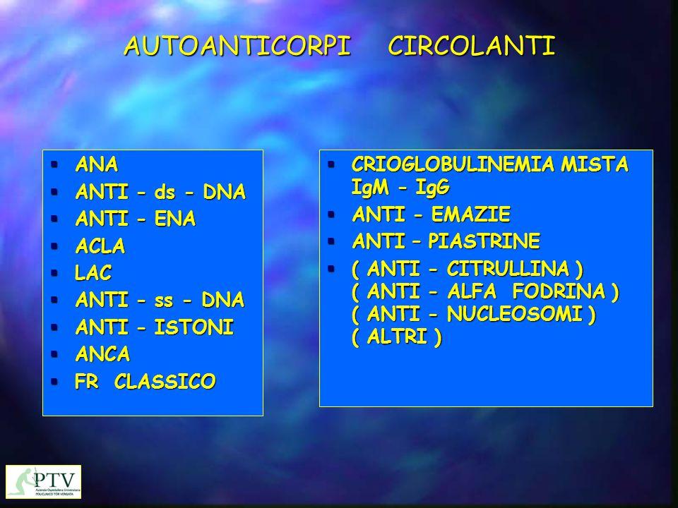 AUTOANTICORPI CIRCOLANTI  ANA  ANTI - ds - DNA  ANTI - ENA  ACLA  LAC  ANTI - ss - DNA  ANTI - ISTONI  ANCA  FR CLASSICO  CRIOGLOBULINEMIA M