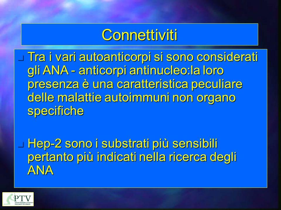 Connettiviti n Tra i vari autoanticorpi si sono considerati gli ANA - anticorpi antinucleo:la loro presenza è una caratteristica peculiare delle malat