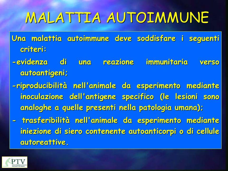 MALATTIA AUTOIMMUNE Una malattia autoimmune deve soddisfare i seguenti criteri: -evidenza di una reazione immunitaria verso autoantigeni; -riproducibi