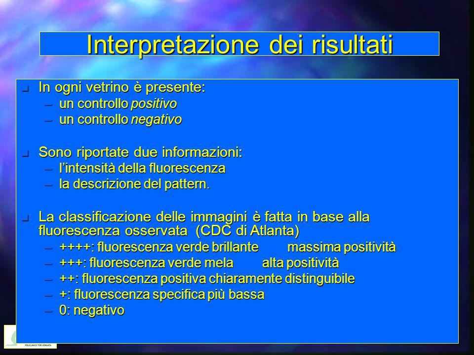 Interpretazione dei risultati n In ogni vetrino è presente: –un controllo positivo –un controllo negativo n Sono riportate due informazioni: –l'intens